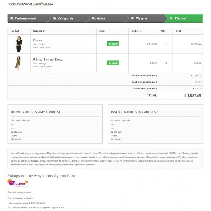 Podsumowanie zamówienia - koszyk w module płatności Prestashop