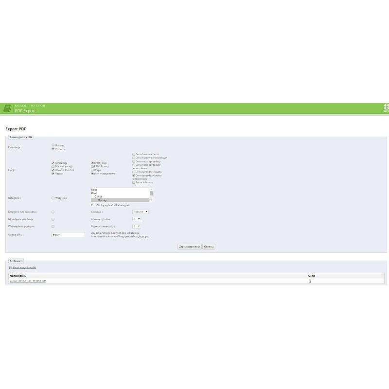 Generator PDF produktów PrestaShop 1.5 i 1.6.x