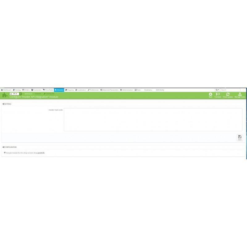 Insider Api integracja moduł PrestaShop