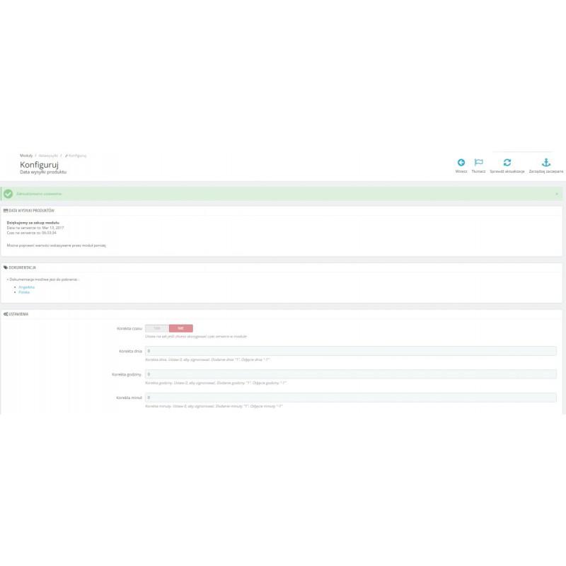 Data wysyłki wiadomość moduł PrestaShop
